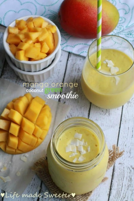 Mango Orange Coconut Green Smoothie - Life Made Sweeter