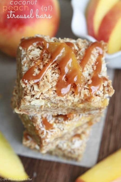 Toasted Coconut Peach Streusel Bars with Dulce de Leche {gf} - Life Made Sweeter