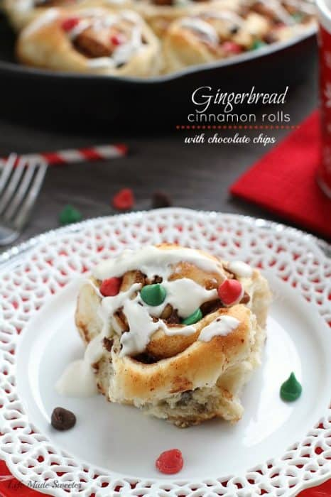 Gingerbread Cinnamon Rolls with Chocolate Chips by @LifeMadeSweeter