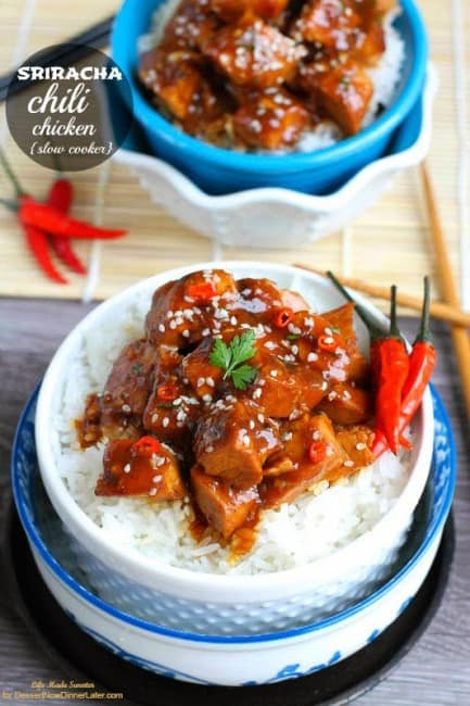 {Slow Cooker} Sriracha Chili Chicken - so easy, flavorful and way better than takeout!