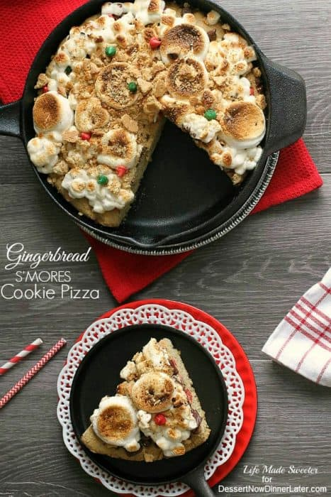 Gingerbread Smores Cookie Pizza by @LifeMadeSweeter