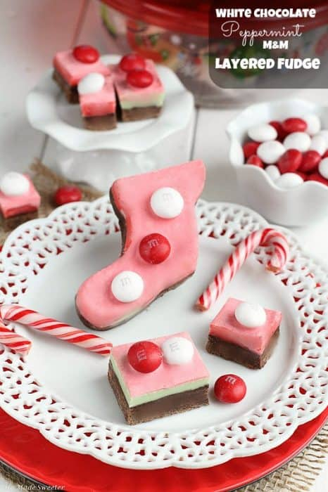 White Chocolate Peppermint M&M Layered Fudge from - @LifeMadeSweeter