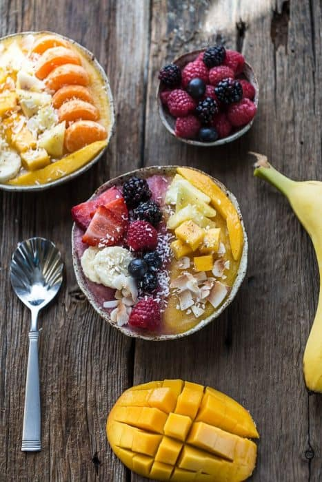 Berry Mango Coconut Layered Smoothie Bowl makes the perfect healthy breakfast or snack