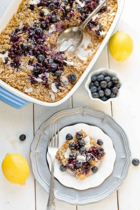 Blueberry Lemon Cococnut Baked Granola makes the perfect healthy gluten free breakfast