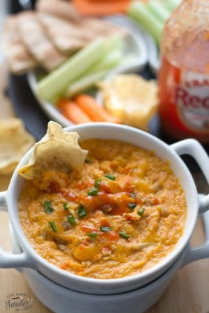 Slow Cooker Buffalo Chicken Dip with Zucchini is perfect for summer parties