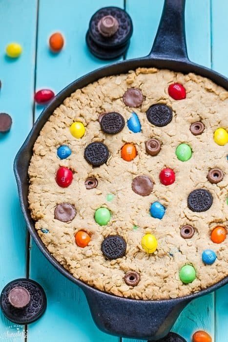 Candy Oreo Monster Skillet Cookie Pizza is perfect for using up leftover candy