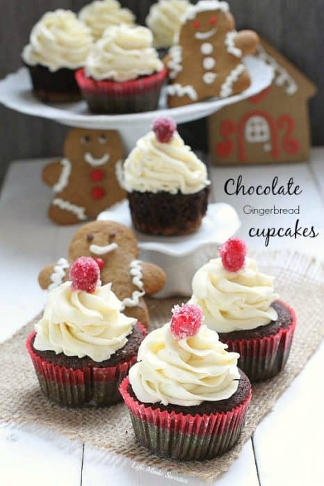 Chocolate Gingerbread Cupcakes with White Chocolate Buttercream from @LifeMadeSweeter @BobsRedMill #sponsored