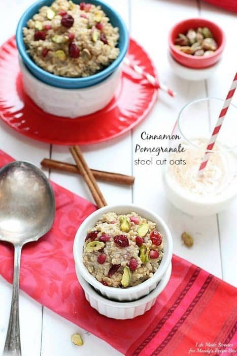 Cinnamon Pomegranate Steel Cut Oats {Slow Cooker} by @LifeMadeSweeter