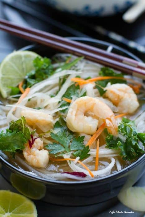 Daikon Pho is a healthy twist on Vietnamese pho using sprialzed daikon noodles with a sweet & spicy vegetable broth.