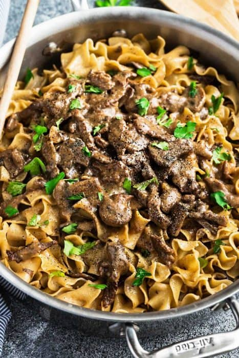 Easy Beef Stroganoff - One Pot - has all the delicious flavors you love about this classic comfort food. Best of all, made in just one pot so it's perfect for busy weeknights.