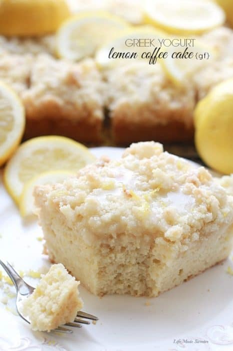 Greek Yogurt Lemon Coffee Cake - A bright and flavorful lightened up lemon coffee cake with a crunchy streusel topping and a sweet & tangy lemon glaze.