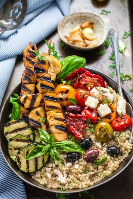 Grilled Greek Chicken Souvlaki Quinoa Brown Rice Bowls are the perfect easy weeknight meal