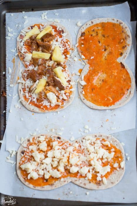 Hawaiian Buffalo Chicken Flatbread makes the perfect easy meal or appetizer!