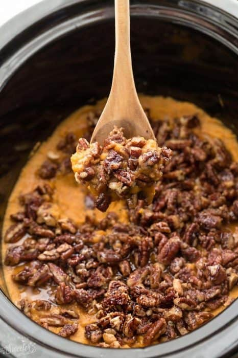 Slow Cooker Paleo Sweet Potato Casserole makes the perfect healthy and easy side dish for Thanksgiving or the Christmas holiday. Best of all, it's made in your crock pot so you can free up your oven! No preboiling required!