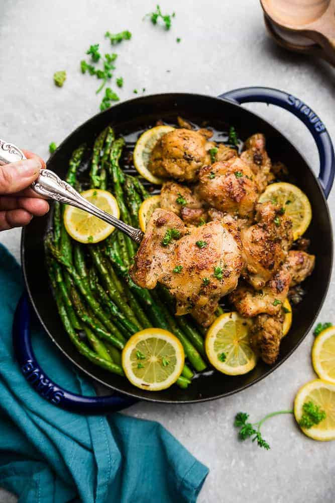 Instant Pot Lemon Herb Chicken with Garlic is the perfect easy low carb / keto-friendly meal for spring. Best of all, this chicken cooks up tender, juicy and full of flavor with instructions for the Instant Pot and stovetop
