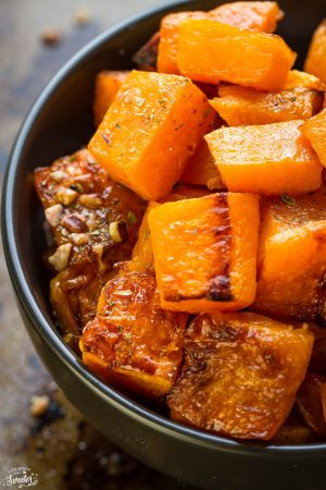 Maple Pecan Roasted Butternut Squash makes the perfect easy side dish for fall. Best of all, they're so simple to customize and are vegan, paleo-friendly and gluten free with no refined sugar.
