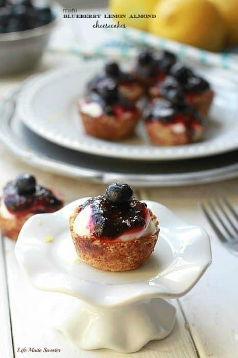 Mini Blueberry Lemon Almond Cheesecakes Easy gluten free mini blueberry cheesecake with almond flour crust cheesecake filling with blueberry sauce