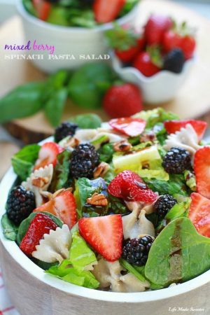 Mixed Berry Spinach Pasta Salad coated with balsamic dressing makes a light and delicious side dish with bla