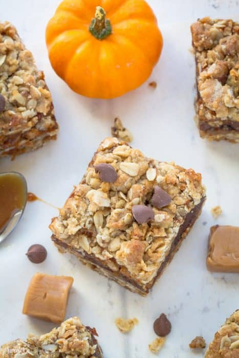 Pumpkin Caramel Chocolate Oatmeal Bars are decadent and make the perfect sweet treat