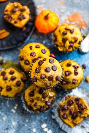 Pumpkin Chocolate Chip Muffins - the perfect easy breakfast or on the go snack for fall. Best of all, bursting with cozy and warm fall flavors and comes together in just ONE bowl!