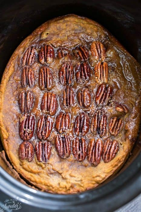Slow Cooker Pumpkin Pecan Pudding Cake is the perfect decadent dessert for fall. Best of all, it's so easy to make with less than 20 minutes of prep time and cooks entirely in your crock-pot!