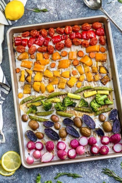 Rainbow Roasted Vegetables makes the perfect easy side dish in a fun presentation for kids and adults. Best of all, this recipe is so easy to customize using any vegetables you like. Great for Sunday meal prep and leftovers are perfect for work or school lunchboxes or lunch bowls. Also great for parties for St. Patrick's Day or potluck and summer BBQ's.