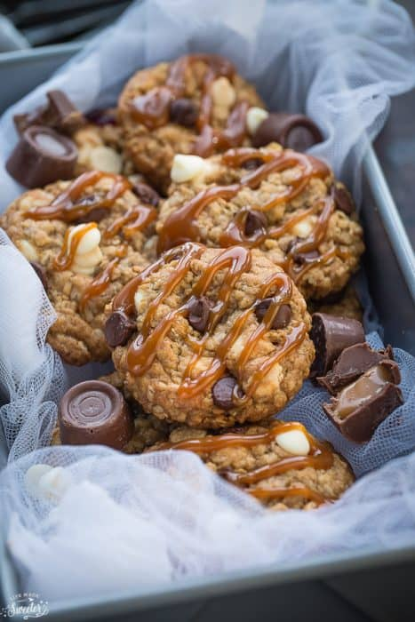 Rolo Stuffed Caramel Oatmeal Cookies make the perfect indulgent treat!