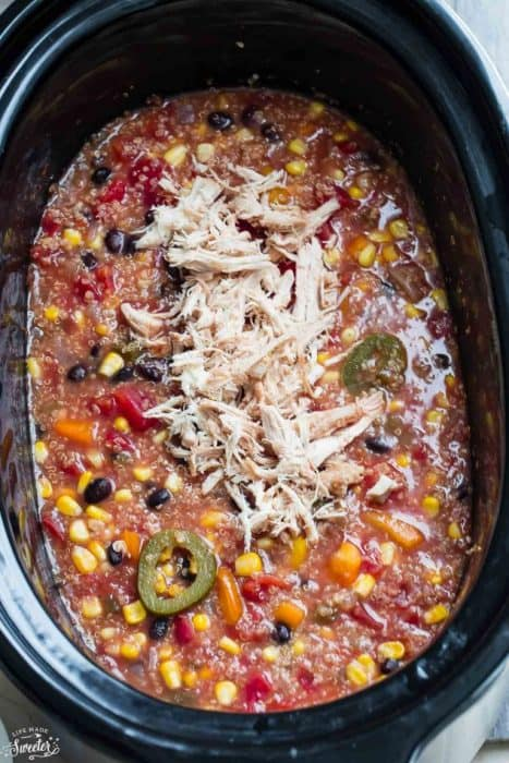 Slow Cooker Chicken Enchilada Quinoa Soup makes the perfect easy comforting meal