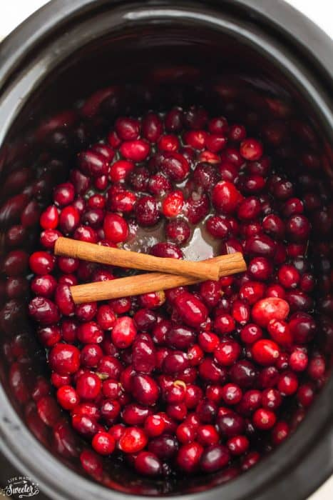 Slow Cooker Homemade Cranberry Sauce is so easy to make with only 4 Ingredients