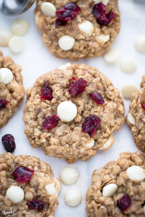 White Chocolate Cranberry Oatmeal Cookies are soft, chewy & perfect for the holidays!