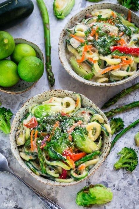 Zoodles Cauliflower Alfredo makes an easy & healthy weeknight meal. Gluten Free, Vegan, Paleo, Whole 30